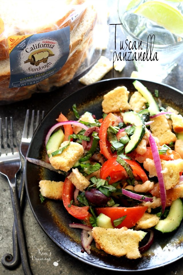 Tuscan Panzanella is a classic bread salad full of juicy tomatoes, crunchy cucumber, spicy red onion and fresh flavor!