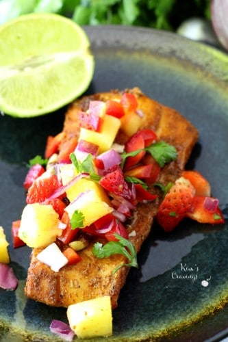 Blackened Cod topped with Fruit Salsa is an easy, light, flavorful meal bursting with fresh flavor!