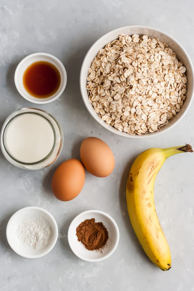 ingredients for Gluten Free Banana Oat Waffles