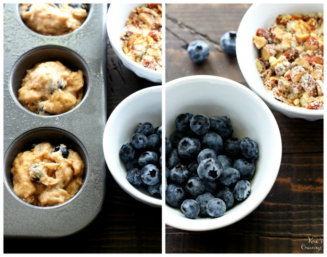 blueberry banana muffins with almond streusel topping