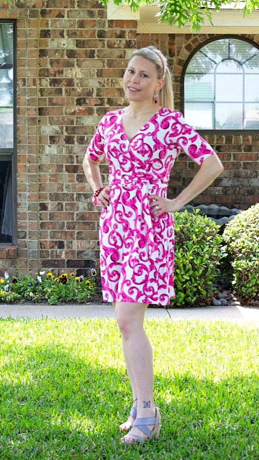 May 2016 Stitch Fix Review- Lin Faux Wrap Jersey Dress by Donna Morgan | 118.00