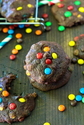 These Gluten Free M&M Brownie Cookies couldn't be easier and they're soft, chewy, fudgy and just absolutely amazingly delicious.