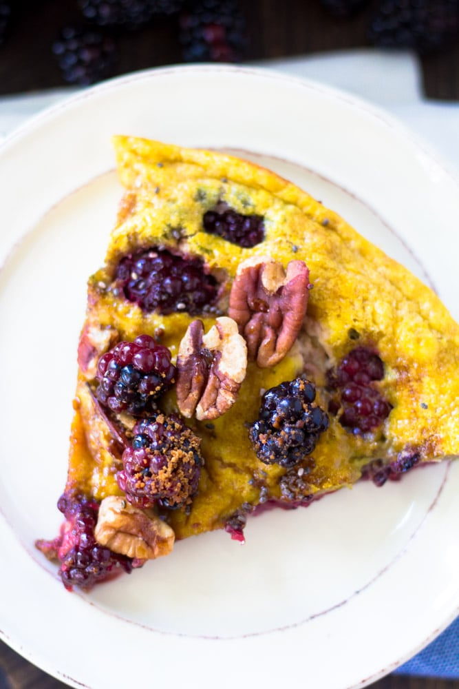 Low in carbohydrates and high in protein the Blackberry Pecan Sweet Frittata is sure to satisfy all egg lovers and convert a few too!