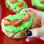 Light Pea Pesto Crostini Appetizer