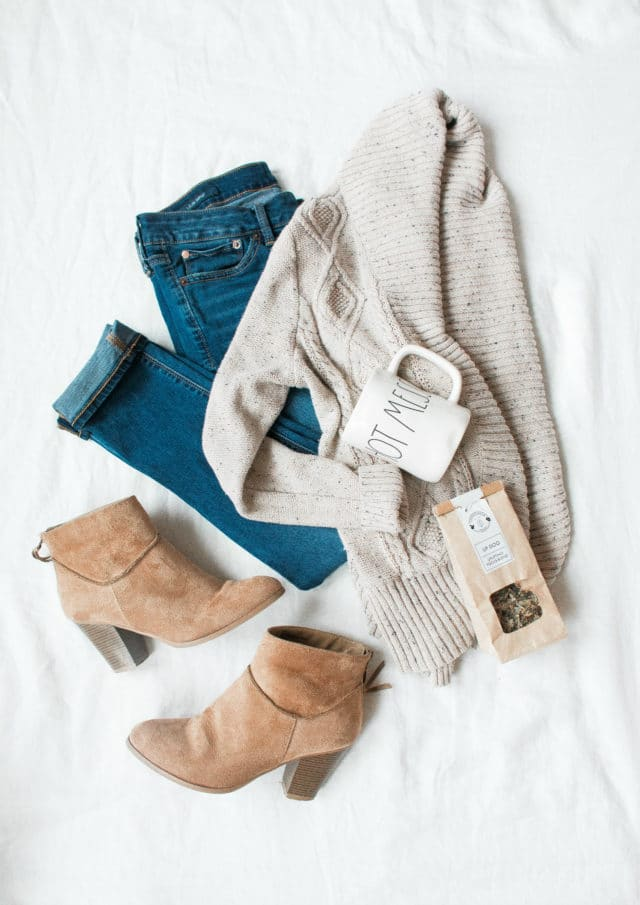 woman's jeans, cardigan and brown booties