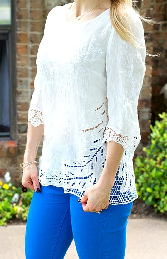 May 2016 Stitch Fix Review- Diaz Crochet Detail Top by BRIXON IVY | 74.00