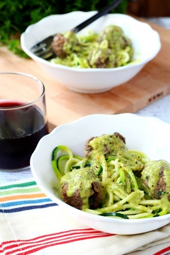 bison meatballs with zoodles