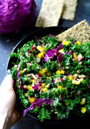 An easy kale salad full of color and loaded with nutrients to get you back on track and make you feel fabulous! (vegan and gluten free)