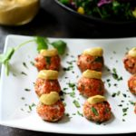 Southwestern Salmon Croquettes with Creamy Chipotle Sauce- a delicious, flavorful twist on the classic meatball with the perfect kick of spice! (gluten free and healthy)