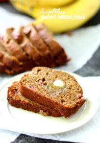 Whole wheat rhubarb banana bread is made healthier with no refined sugar, butter or oil, but so soft and tender that you'd never be able to tell! The rhubarb adds a nice tart flavor, while the banana balances out the tart with a lovely sweetness.