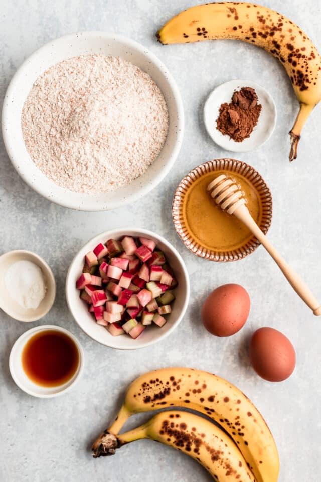 ingredients to make Healthy Rhubarb Banana Bread