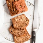 rhubarb bread sliced with a bread knife