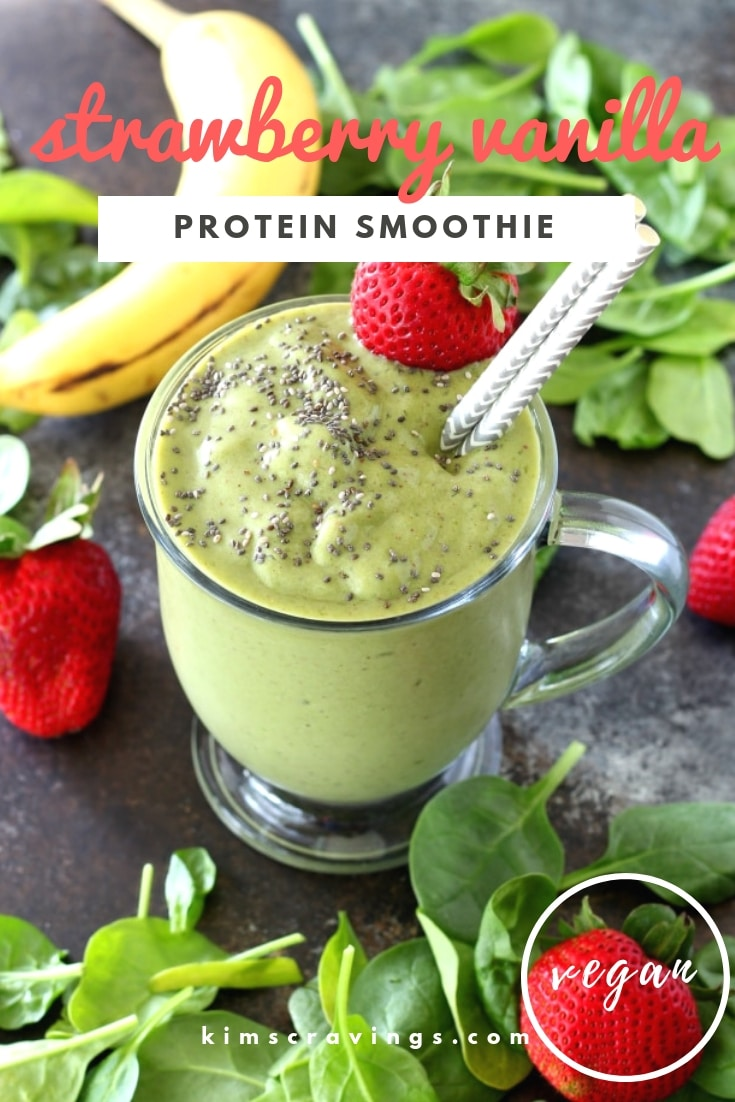 This super creamy Strawberry Vanilla Protein Smoothie tastes incredible and is packed with antioxidants, minerals, protein and healthy fats to keep you vibrant and satisfied longer!