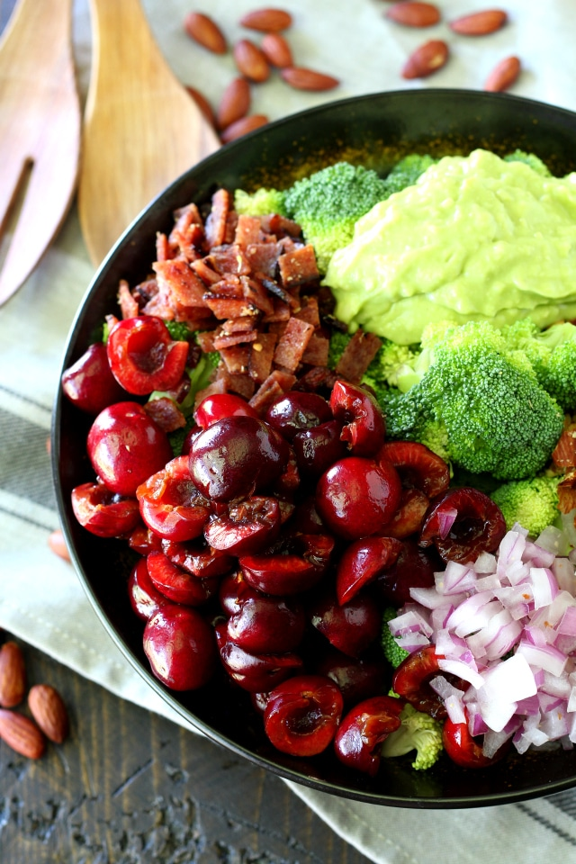 A hearty healthy cherry almond broccoli salad loaded with my favorite antioxidant-rich ingredients to make this incredibly tasty salad!