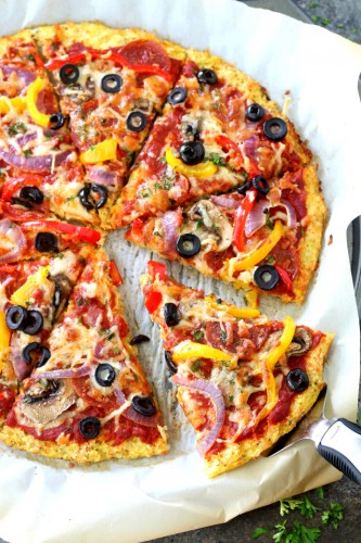 This easy, light cauliflower pizza crust is—dare I say it—the BEST ever and even better than regular pizza crust. Loaded Pizza on Cauliflower Crust will satisfy even the most intense pizza craving. Low-carb, low-calorie, gluten-free and vegetarian, this pizza is figure-friendly and an absolute must try!