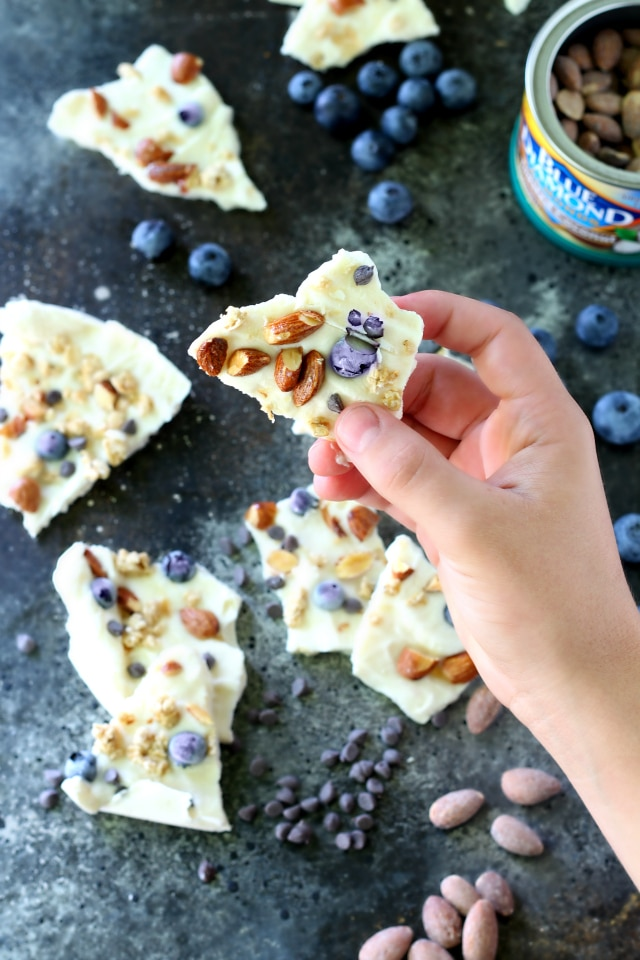 Healthy Frozen Yogurt Trail Mix Bark is the perfect easy summer dessert! This tasty treat is ridiculously simple to throw together, even the kids can whip it up.