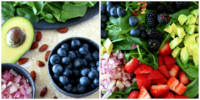 Get ready to shake up your summer cookout with this sweet, colorful and oh-so-sassy easy-to-make bright berry salad! (vegan, dairy and gluten free)