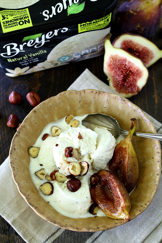 Spiced Roasted Figs Over Vanilla Ice Cream- luscious, creamy vanilla ice cream joined with caramelized, spiced figs and toasted hazelnuts will have your tastebuds dancing in delight!