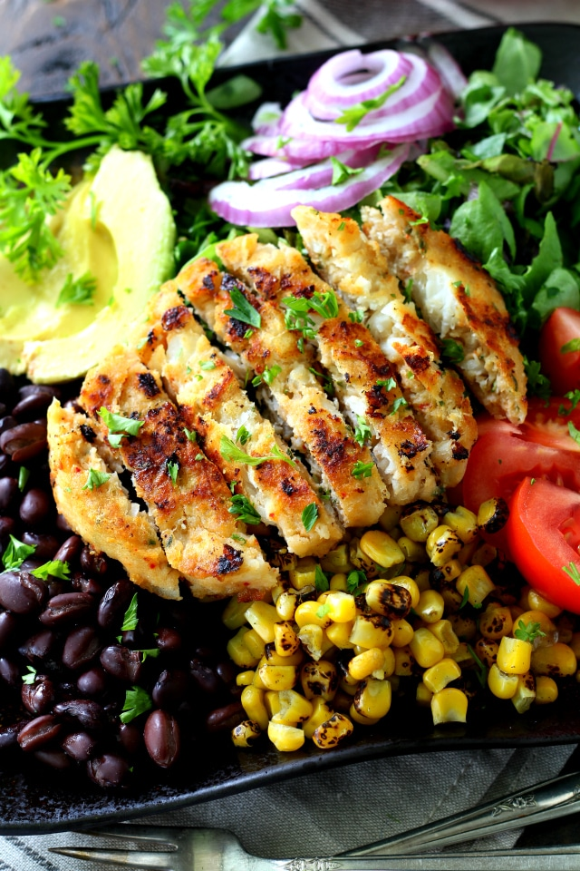 Alaskan Pollock Southwestern Salad with Avocado Dressing- an easy, flavorful Tex-Mex dish that will knock your socks off!