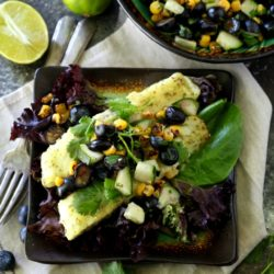 This recipe for Roasted Barramundi with Blueberry Salsa is quick and easy to make, full of healthy and antioxidant- rich ingredients, naturally-gluten free, and it's perfectly sweet and savory and delicious!