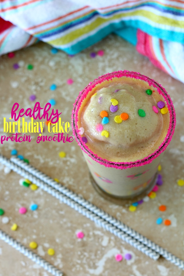The Healthy Birthday Cake Protein Smoothie has that classic yummy vanilla cake flavor we all know and love without any of the guilt. The perfect healthier sweet treat for a celebration!