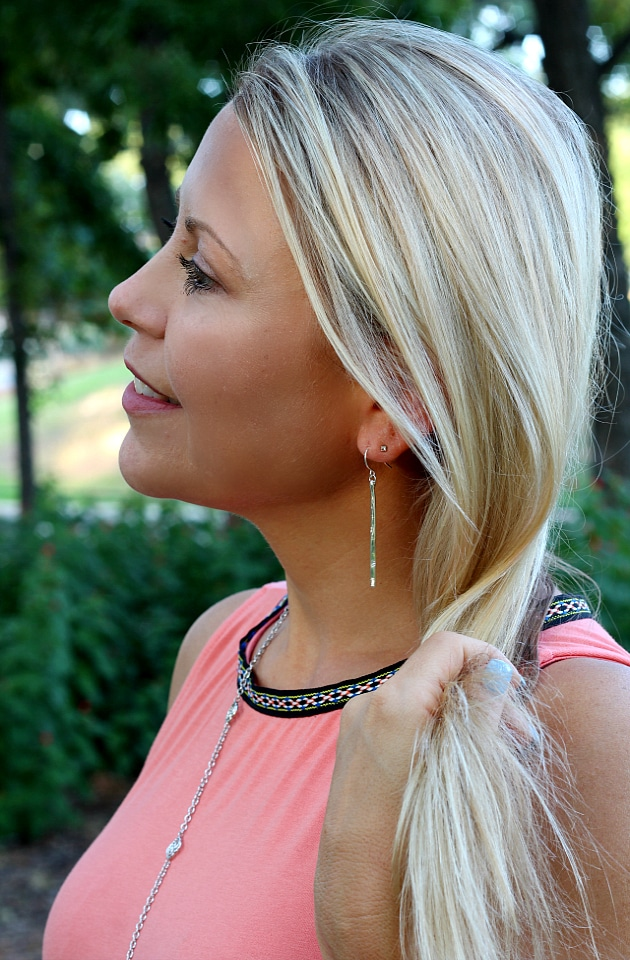 August 2016 Stitch Fix Review- Heather Hammered Bar Drop Earrings by Gorjana | 45.00