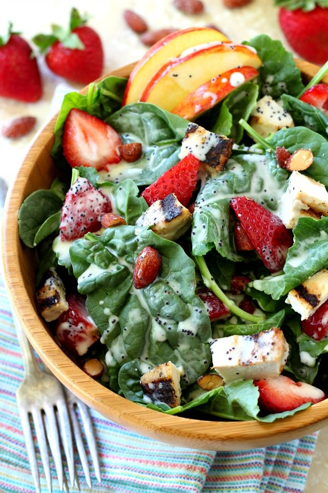 A quick and tasty Strawberry Apple Chicken Salad, filled with plump juicy strawberries, sweet apple slices, crunchy almonds and topped off with the most wonderful poppy seed dressing you've ever tasted!