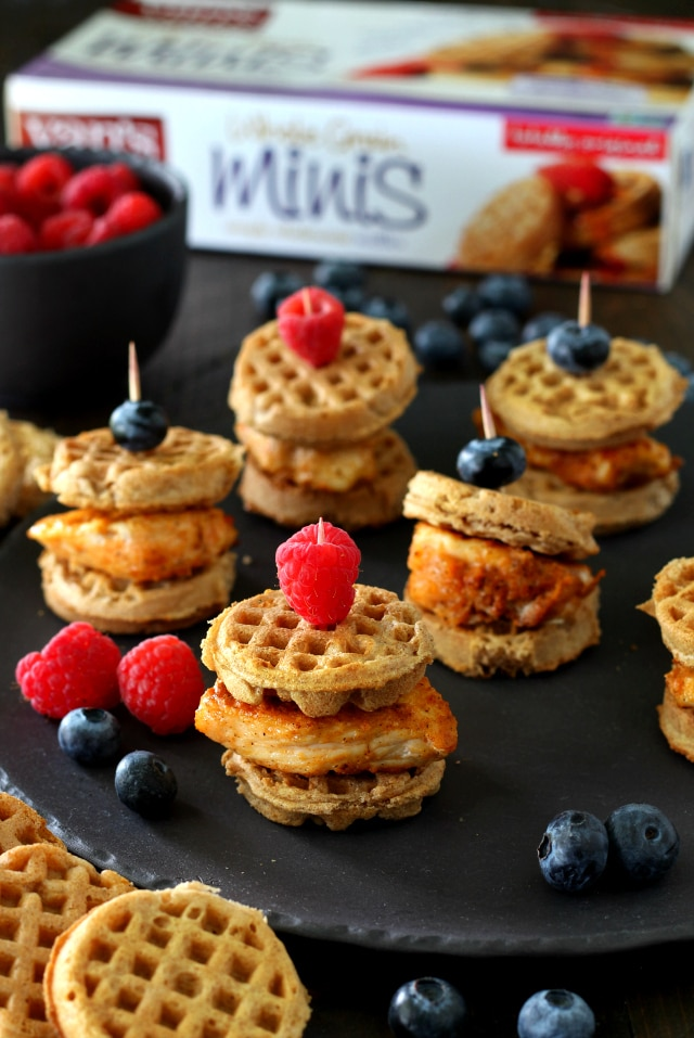 Healthier Mini Chicken Waffle Sliders- the classic comfort food transformed into a fun, portable, better-for-you brunch food.