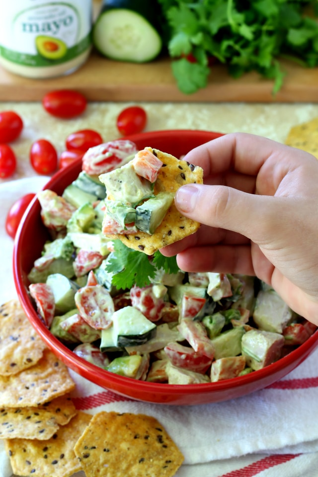 Chicken Avocado Tomato Salad- a light, summery salad loaded with chicken, fresh veggies and topped with a healthy, creamy avocado mayo – perfect as an appetizer or entree! (Paleo, gluten free & Non-GMO)