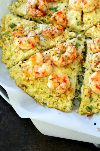 """Shrimp Scampi Cauliflower Crust Pizza- the famous """"Shrimp Scampi"""" ingredients in pizza form and made low carb with a cauliflower crust. Healthy, fresh and full of flavor!"""