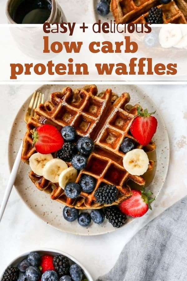 Low Carb Protein Waffles served with fresh fruit
