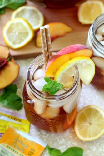 Cold and refreshing, this Peach Lemon Iced Tea is absolutely the BEST way to beat the heat!