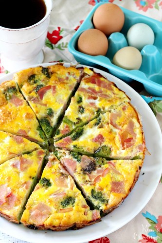 This Broccoli and Ham Frittata is incredibly tasty and so easy to throw together. Perfect for serving during the holidays or for a crowd pleasing option for busy weeknights.