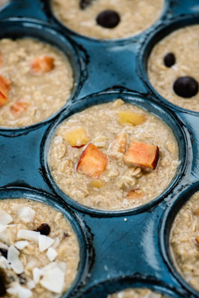Fill muffin tin with oatmeal cup batter