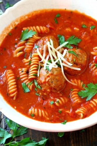 This easy Pasta Meatball Soup is a hearty, delicious, make-you-feel-good recipe. Made in just 20 minutes and in one bowl, the kiddos and adults will LOVE this meal!