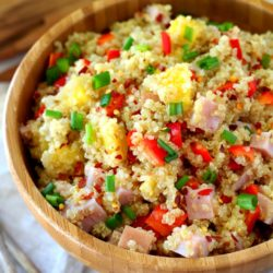 Ham Pineapple Quinoa Salad- loaded with fresh, tropical flavors and so easy it can be thrown together in less than 20 minutes! (gluten-free, dairy-free)