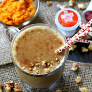 Vanilla Pumpkin Spice Frappuccino- a satisfying fall-inspired treat to keep you cool and refreshed for breakfast, post workout or for an afternoon pick-me-up.