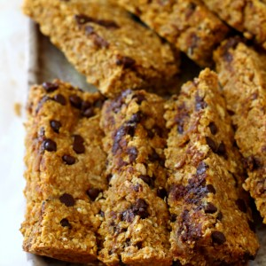 The ultimate Chewy Chocolate Chip Pumpkin Oatmeal Bars- these babies are so soft, scrumptious and quite possibly the perfect fall snack! And even better, they're vegan, gluten-free and dairy-free.