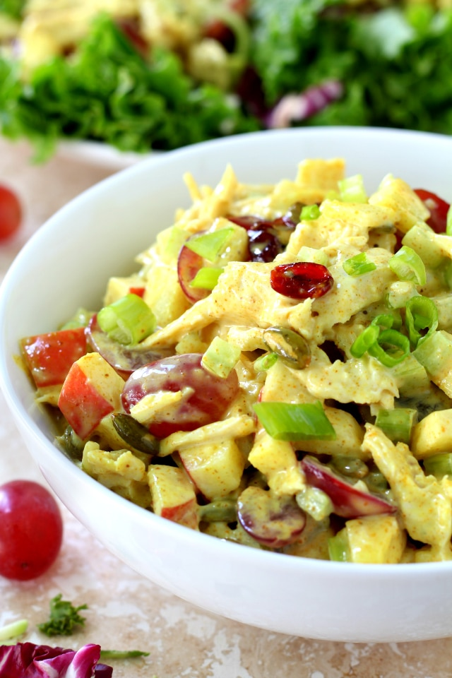 Sweet grapes, juicy Honeycrisp apple and crunchy celery combine with lean chicken and the most flavorful curry seasoned dressing to create what some may say is the BEST Curried Chicken Salad they've ever tasted. (healthy & gluten-free)