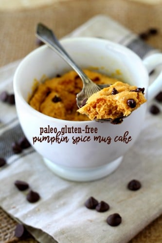 This Paleo Gluten-Free Pumpkin Spice Mug Cake is so tender and delicious that you'd never guess it is actually nutritious. Quick and easy, all you need is a mug, microwave and less than 5 minutes to whip up this tasty fall-inspired treat!
