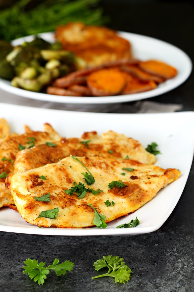 Best Ever Paleo Pan Fried Chicken- No more boring bird! Thin chicken cutlets breaded in a flavorful coconut flour seasoning mix and pan fried to perfection results in a crowd-pleasing chicken meal even the kiddos will love!