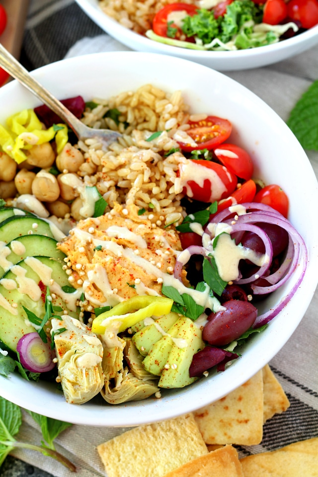 Mediterranean-inspired whole food ingredients come together to make colorful vegan Greek Power Bowls bursting with nutrients to fuel your body and mind. (vegan and gluten-free)