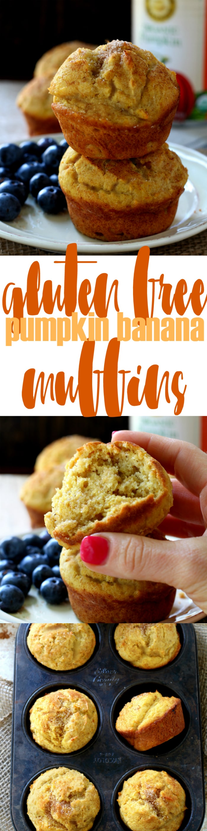 These Gluten Free Pumpkin Banana Muffins are so scrumptious that you'd never guess they're healthy! Whipped up in less than 5 minutes, they make the perfect fall-inspired breakfast or snack.