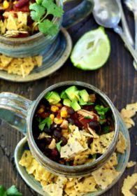 This recipe for Skinny Chicken Taco Soup has got to be the easiest, quickest, most flavorful way to cook up a hearty Tex-Mex inspired bowl of deliciousness!