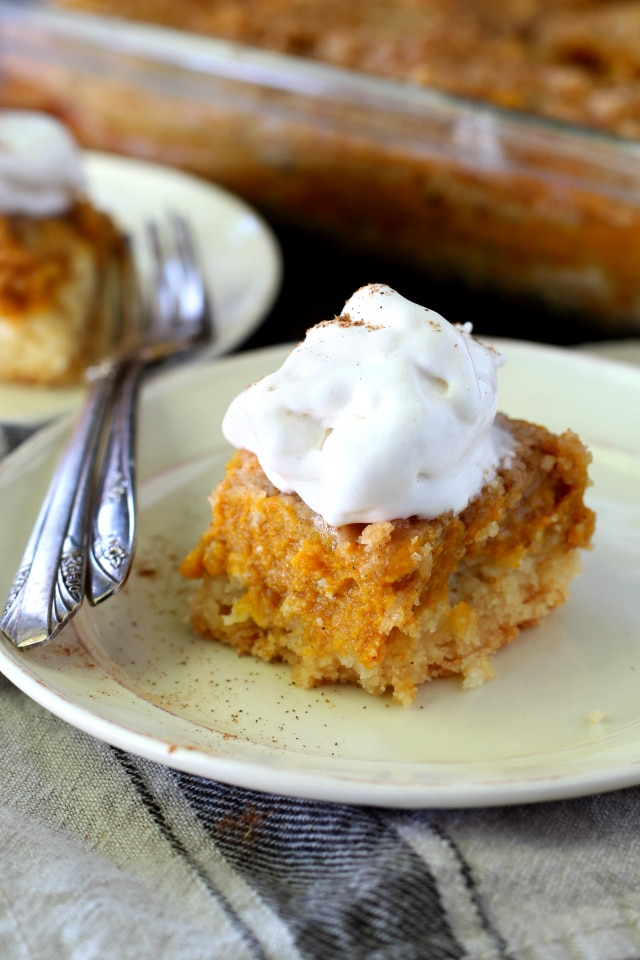 You guys know I have a thing for pumpkin. But nothing can satisfy my pumpkin cravings like my Grandma's Pumpkin Pie Dessert Squares aka my family's VERY favorite dessert. Seriously so yum!