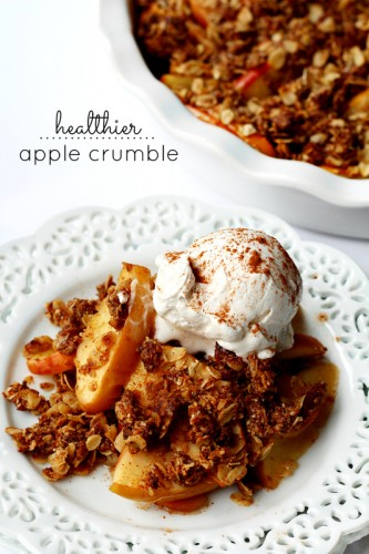 This gluten-free, vegan, healthier apple crumble is made with such nutritious ingredients you can eat it for breakfast, but it's also scrumptious enough to serve for dessert.