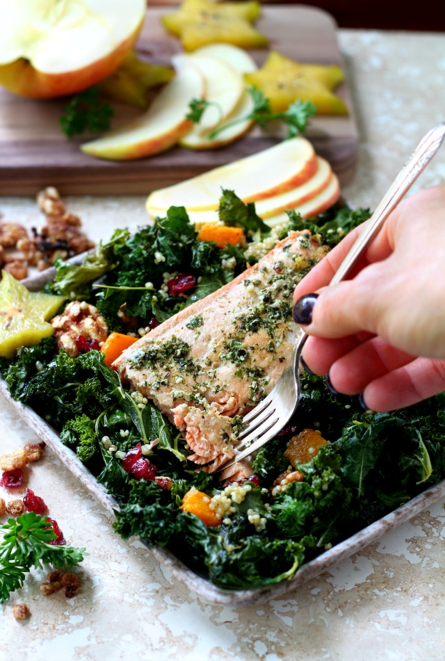Fall Kale Salad with Garden Pesto Salmon is the perfect combination of flavors - dinner doesn't get any tastier than this, folks!