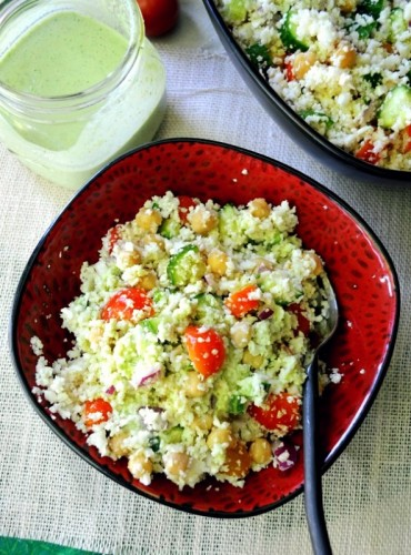 "Light and fluffy cauliflower ""couscous"" with the most awesome dressing EVER!"