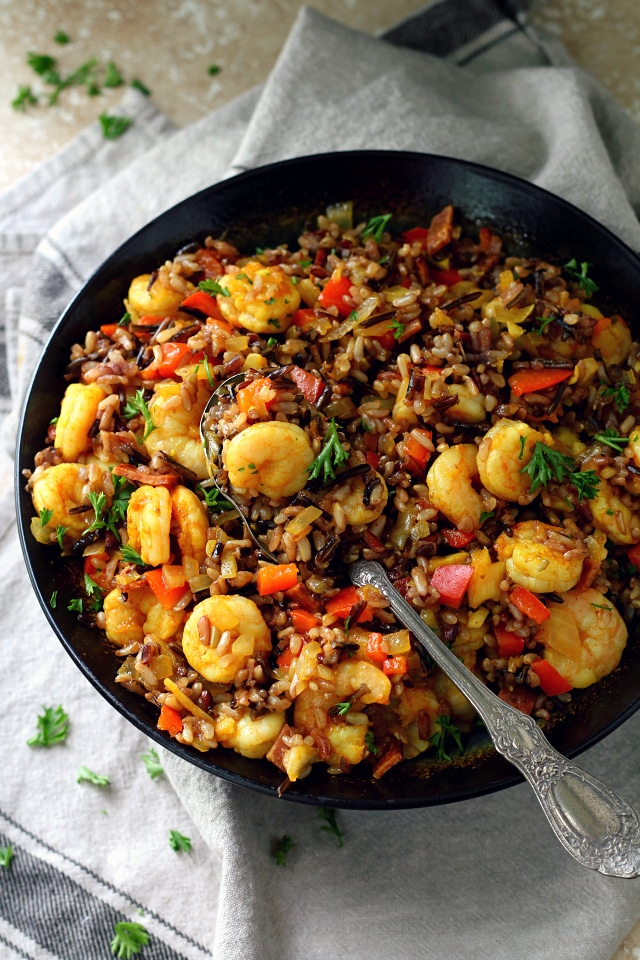 Easy Shrimp Wild Rice Skillet is satisfying and nutritious - my kind of meal! Fresh, flavorful and easy, with very little hands-on time, and plenty of protein.
