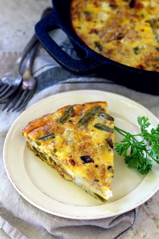 Use leftovers of my grandma's easy green bean casserole to create a delicious yummy green bean casserole frittata